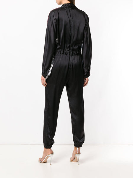 SILK JUMPSUIT WITH METALLIC INSERTS