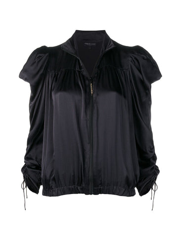 SILK ZIPPED DRAPE-SLEEVE JACKET