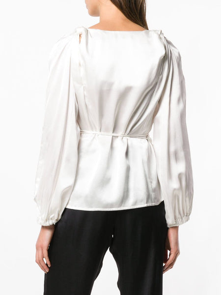 TWISTED SHOULDER WRAP-BLOUSE