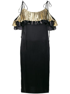 Coup de coeur london gold metallic ruffle silk slip dress