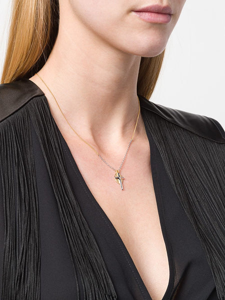 Coup de Coeur London Cross disc necklace close up