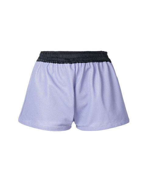 LILAC LEATHER SHORTS WITH SILK BAND