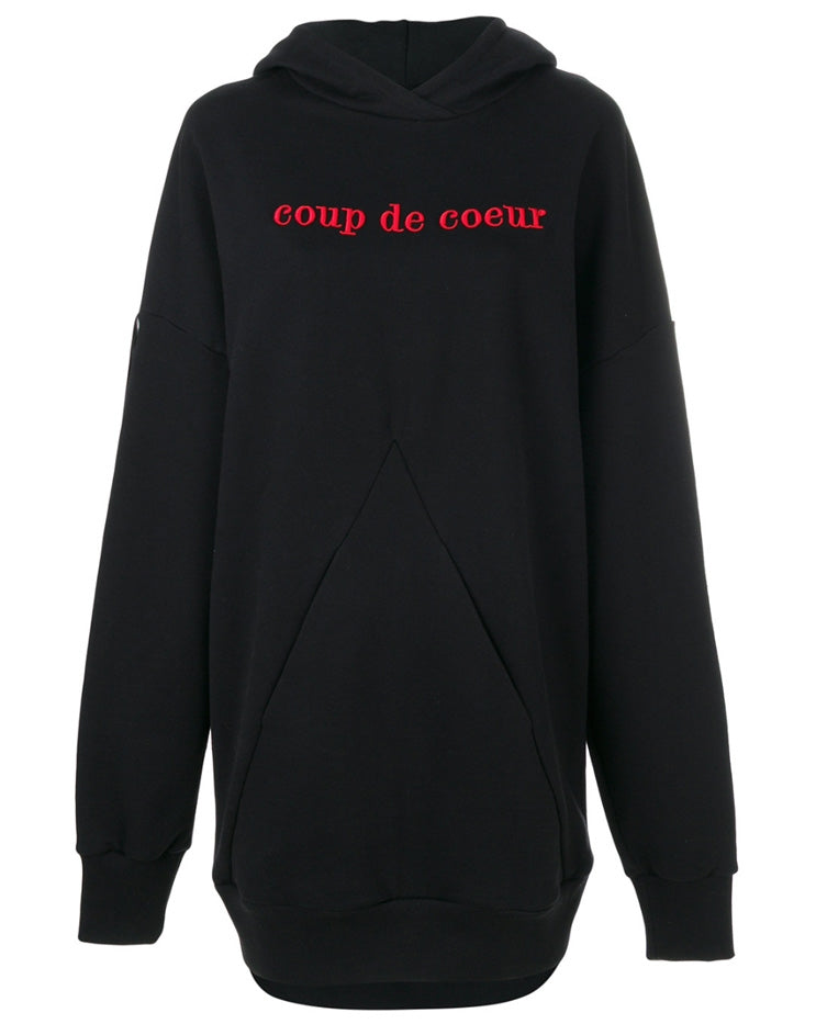 Coup de Coeur London Pyramid pocket red logo hoodie unisex