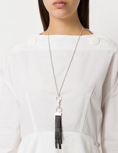 LEATHER TASSEL PENDANT NECKLACE