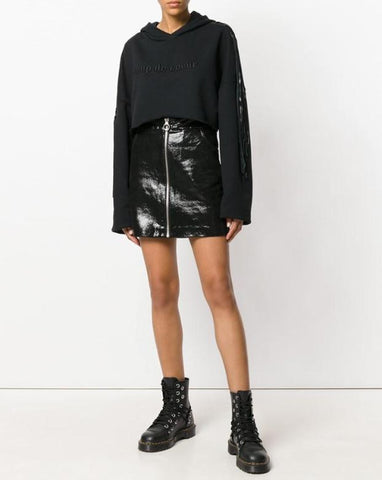 Coup de Coeur London Black leather fringed cropped hoodie