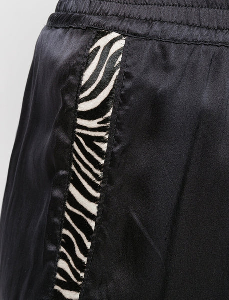 Coup de Coeur London Silk shorts with zebra detail close up