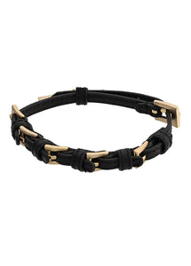 GOLD LEATHER BUCKLE BRACELET (MENS)