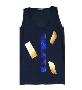 Coup de Coeur London Silk crystal & liquid gold print vest