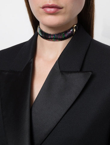 LEATHER RAINBOW STONE CHOKER/CUFF