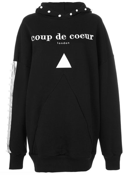 Coup de Coeur London Pearl pyramid pocket hoodie close up