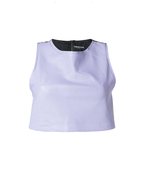 LILAC LEATHER CROP VEST WITH SILK BACK