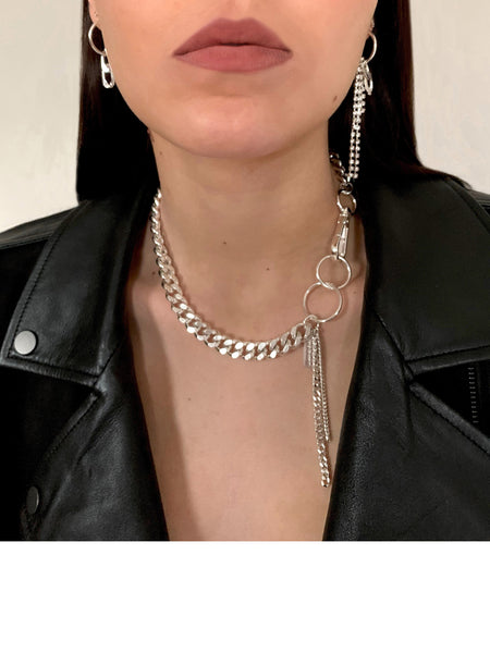 Coup de Coeur Silver chunky curb chain necklace front