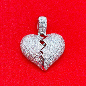 Cracked Heart Pendant (Silver) | USW Urban Street Wear