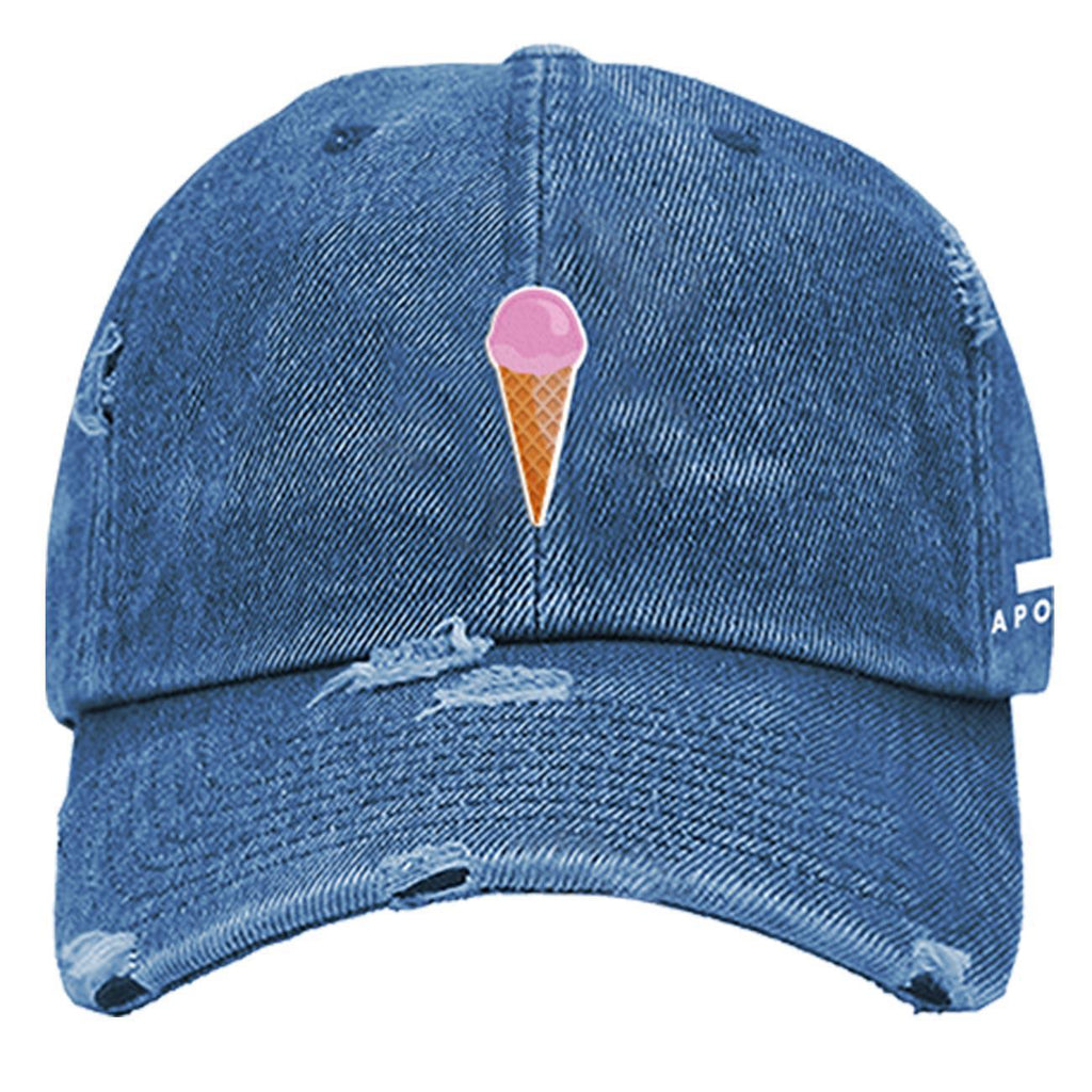 Ice Cream Logo Baseball Cap (Distressed Denim) | Apolo Apparel