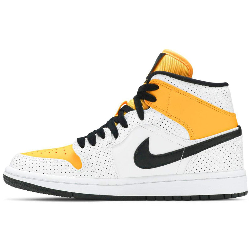 Wmns Air Jordan 1 Mid 'Perforated - White University Gold' Side BQ6472 107