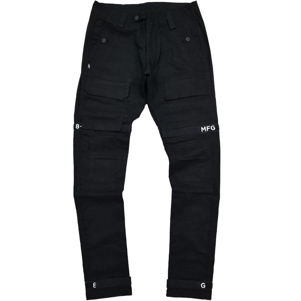 Strapped Up Slim Utility Pant (Black/White) | 8 & 9 Clothing