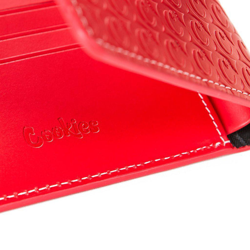 Leather Monogram Wallet (Red) Detail | Cookies Clothing