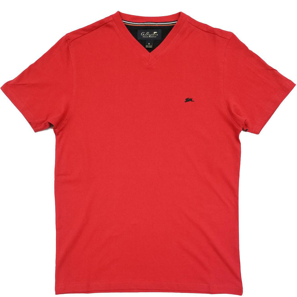 Cameron Plain V Neck T-Shirt (Red) | A. Tiziano
