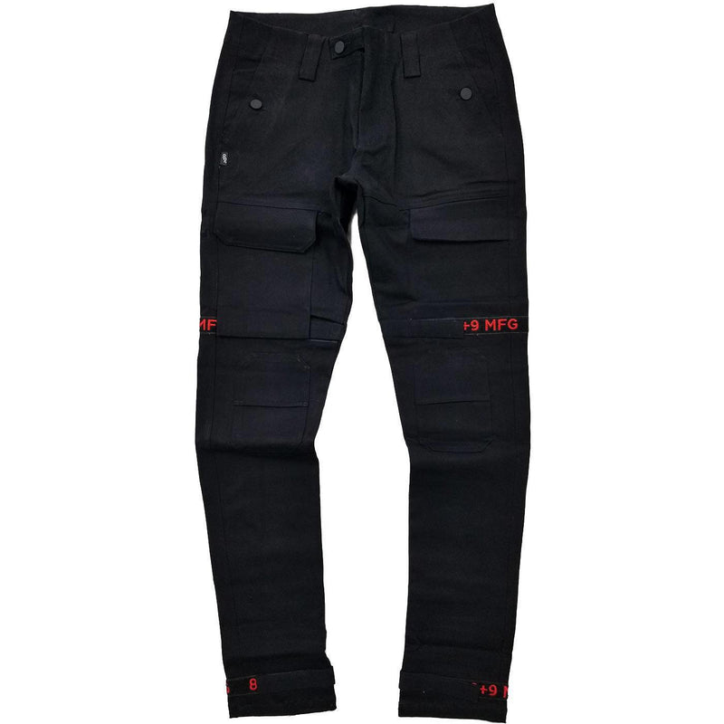 Strapped Up Slim Utility Pant (Black/Red)