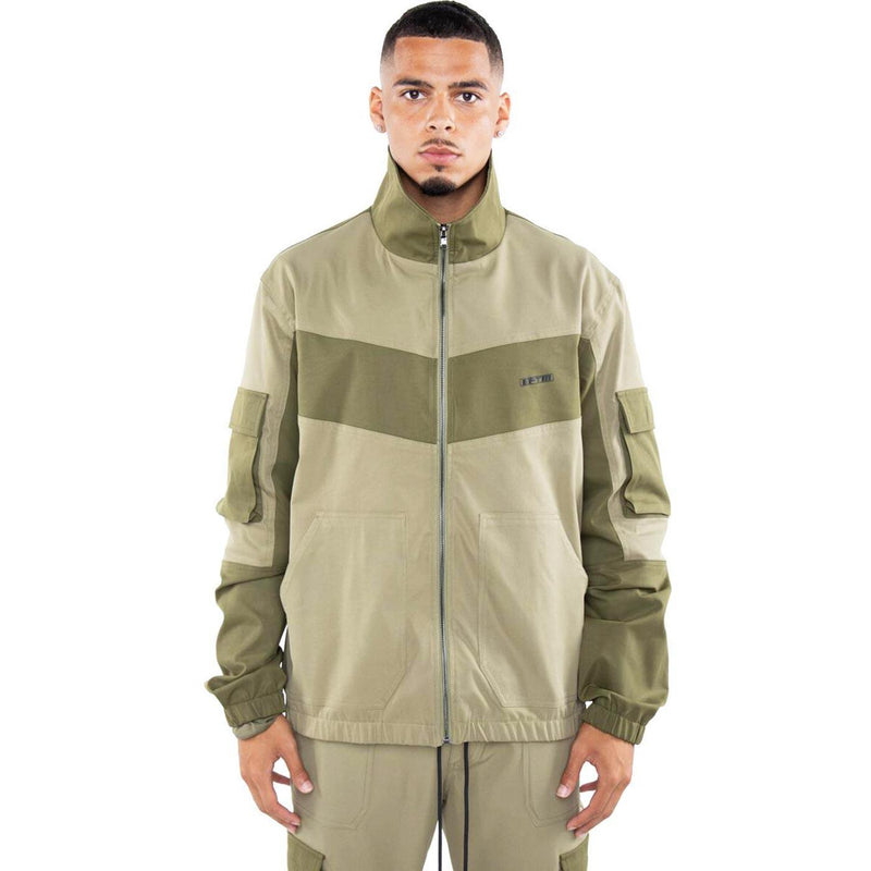 Color Block Nylon Jacket (Olive) | EPTM