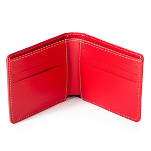 Leather Monogram Wallet (Red) Open | Cookies Clothing