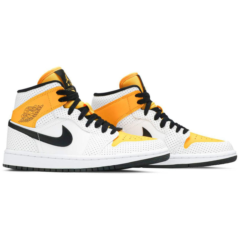 Wmns Air Jordan 1 Mid 'Perforated - White University Gold' New BQ6472 107