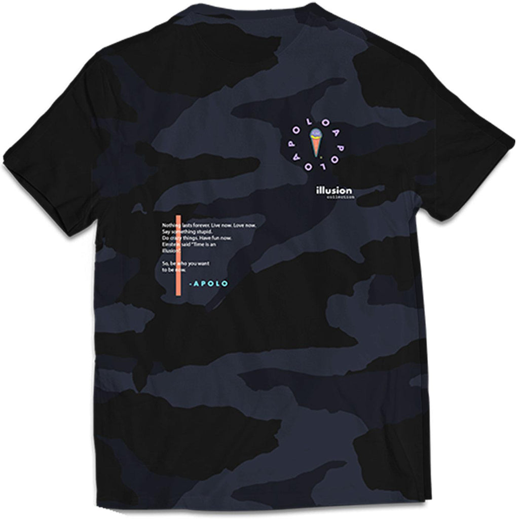 Multicolor Logo Dark Camo Tee (Black) | Apolo Apparel