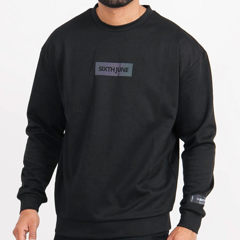 Basic Iridescent Sweatshirt (Black) Front | Sixth June