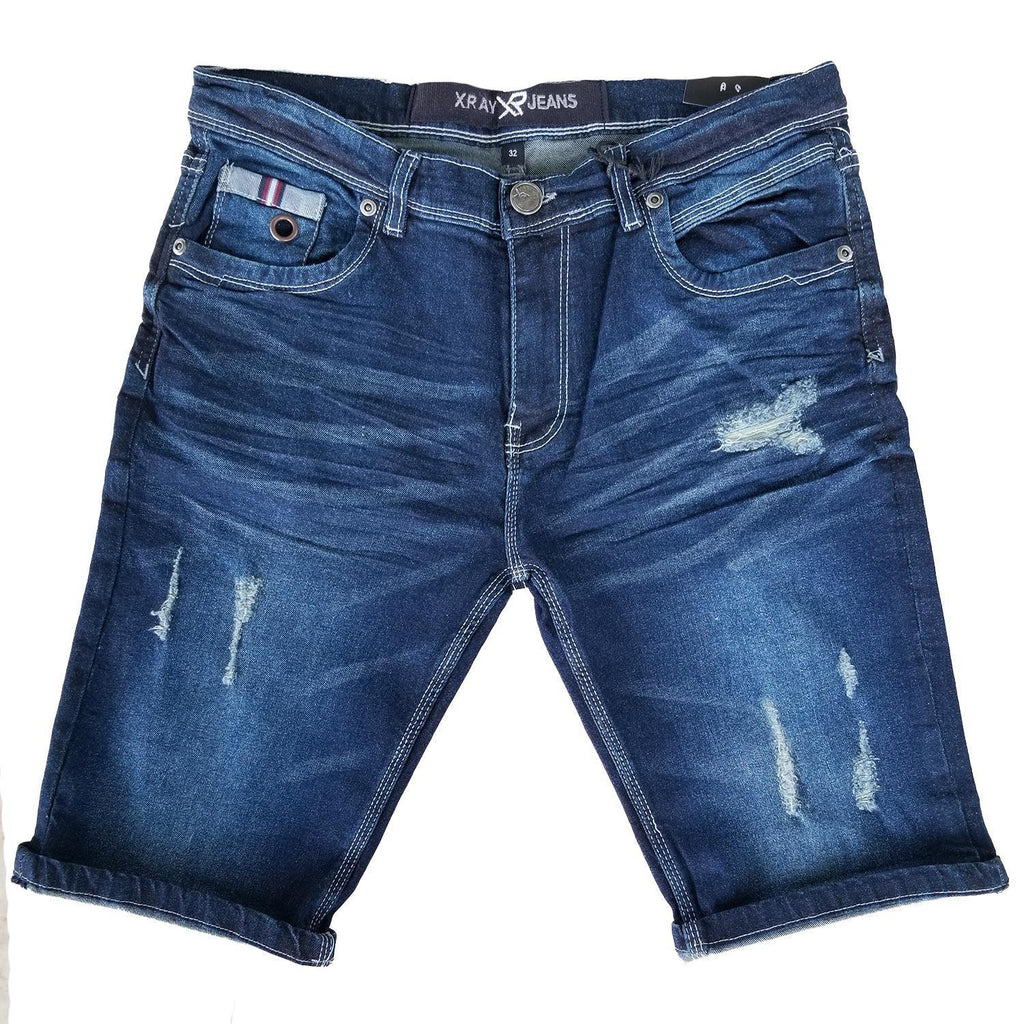 Distressed Blue Wash Denim Shorts | X Ray Jeans