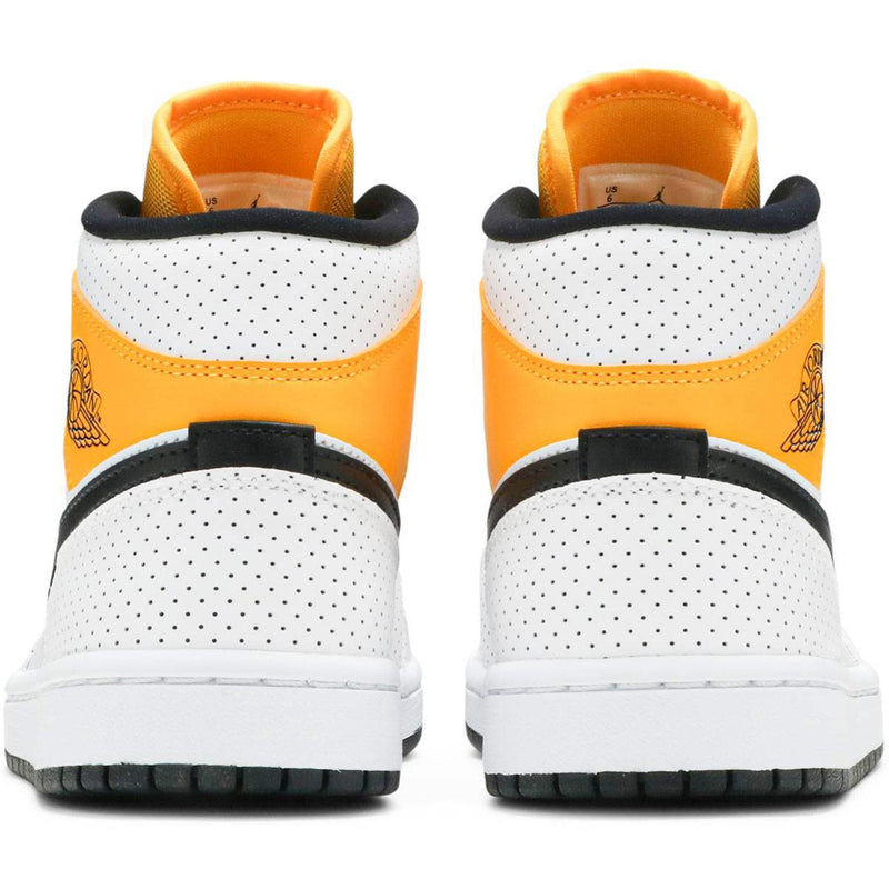 Wmns Air Jordan 1 Mid 'Perforated - White University Gold' Rear BQ6472 107