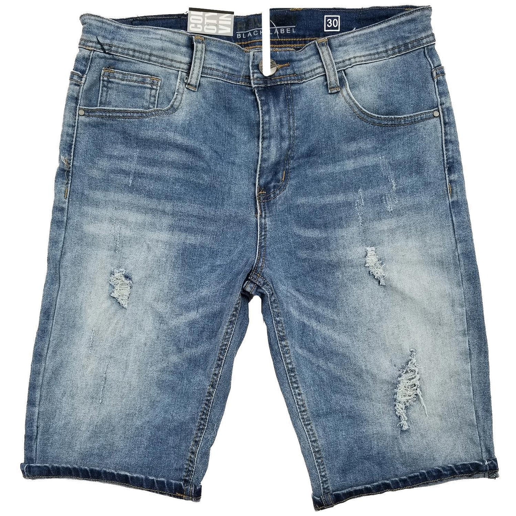Medium Blue Tapered Jean Shorts