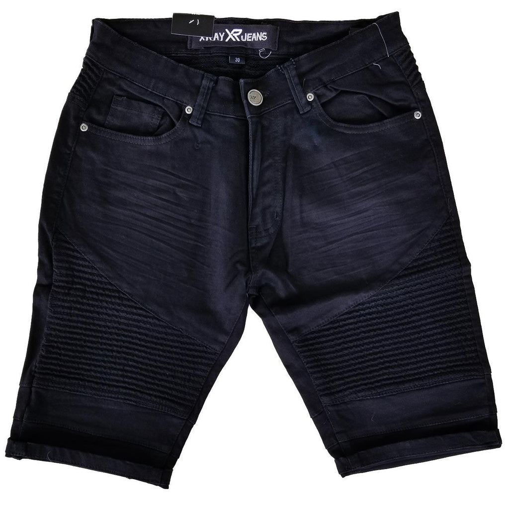 Denim Moto Shorts (Black) | X Ray Jeans