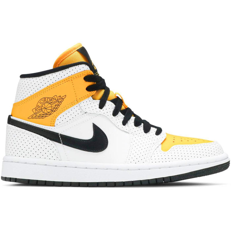 Wmns Air Jordan 1 Mid 'Perforated - White University Gold' BQ6472 107