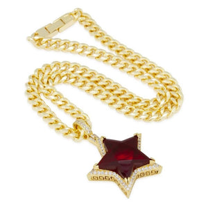 Ruby Star Necklace Side | King Ice