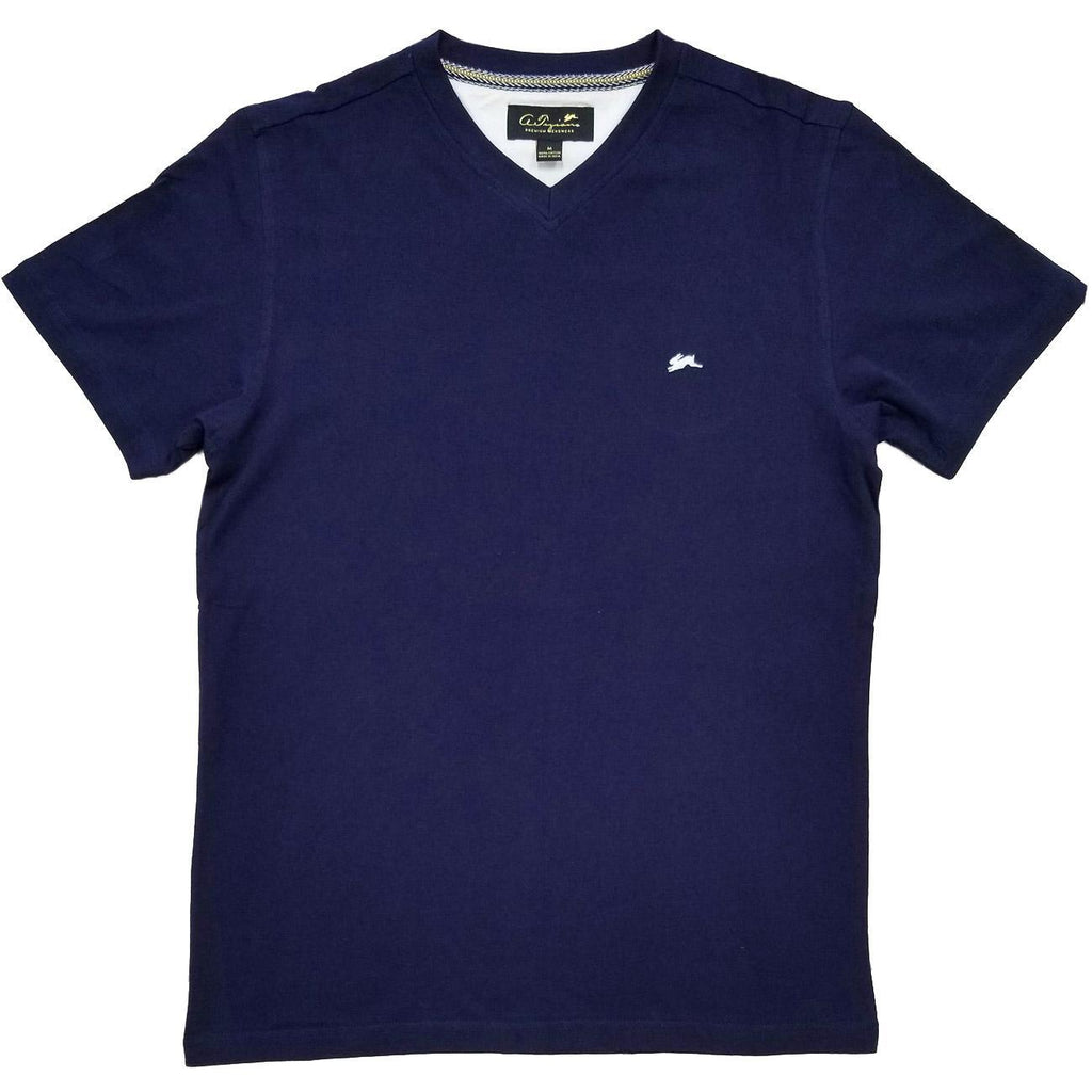 Cameron Plain V Neck T-Shirt (Navy) | A. Tiziano
