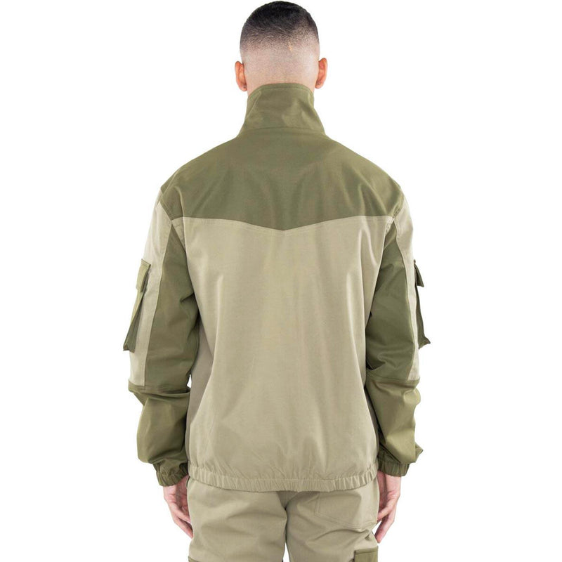 Color Block Nylon Jacket (Olive) Rear | EPTM