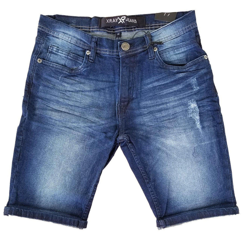 Solid Blue Wash Denim Shorts | X Ray Jeans