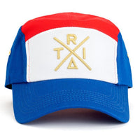 Tri 5 Panel Hat (Blue/Red) Front | Triangulo Swag