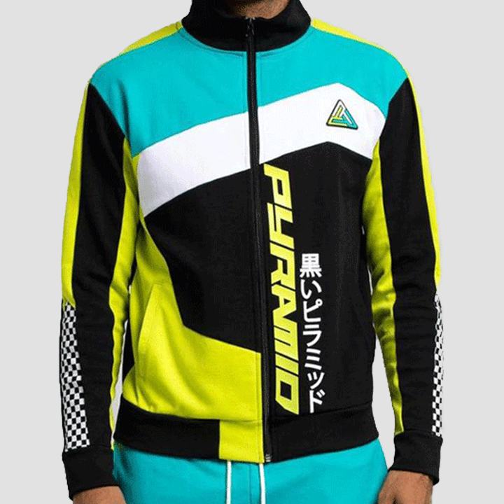 Black Pyramid Color Block Track Jacket (Black)