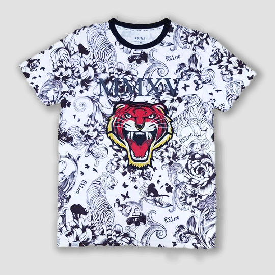 RS1NE Embellish White Tiger T Shirt