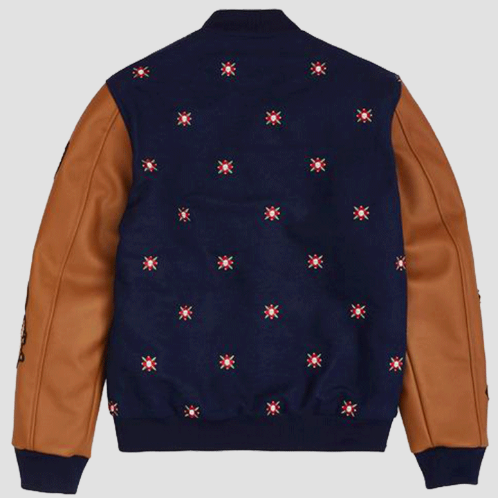 Reason Clothing Kingdom Varsity Jacket Navy Rear View