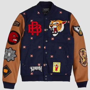 Reason Clothing Kingdom Varsity Jacket Navy