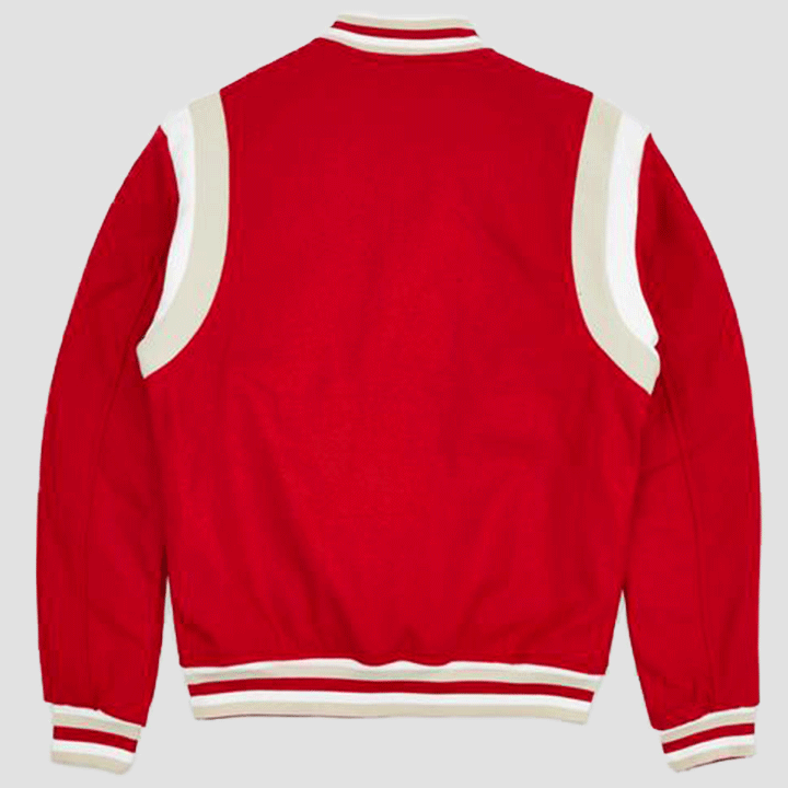 Reason Clothing Westlake Varsity Jacket Red Rear View