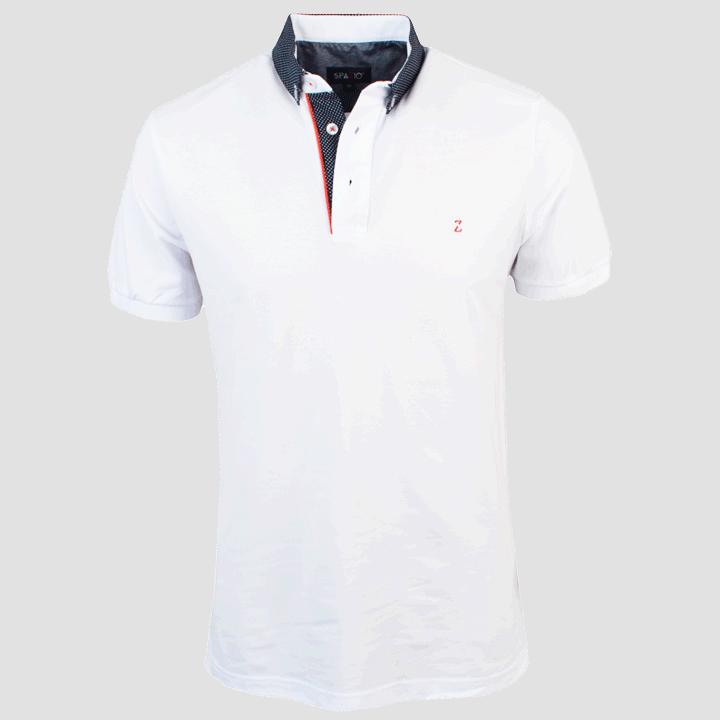 Spazio Clothing Button Collar Polo (White / Navy) PT-3590