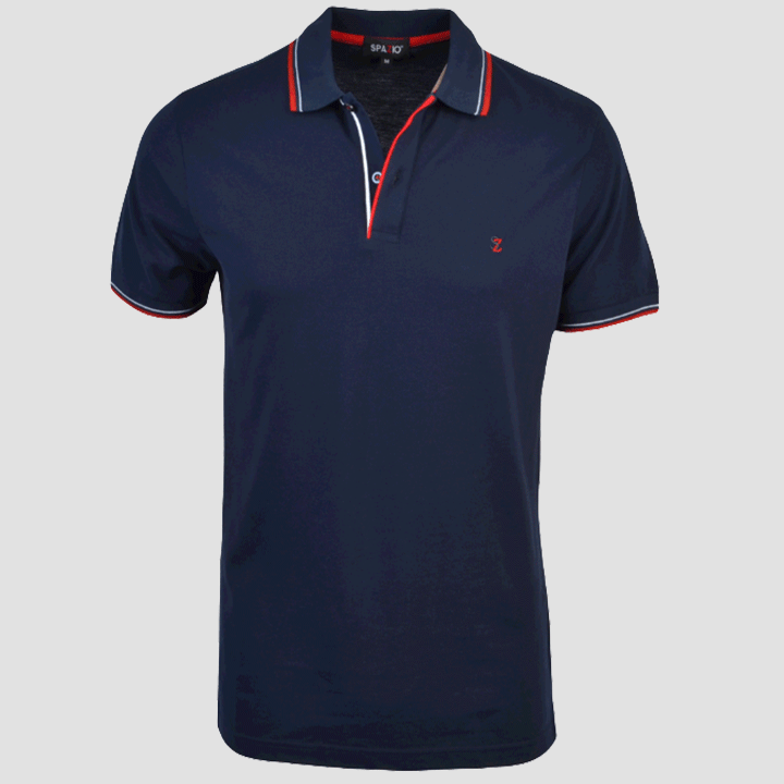 Spazio Clothing Contrast Stripe Polo Navy Red PT-3585