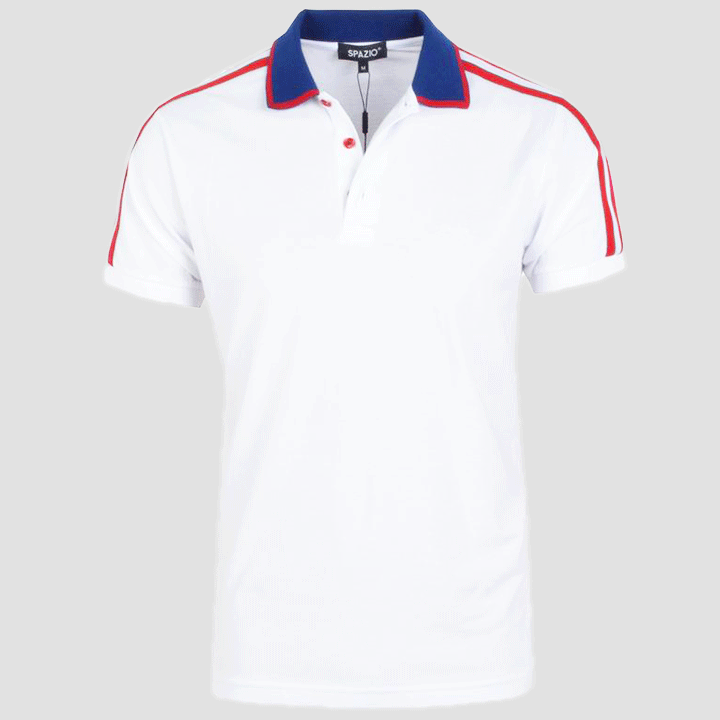 Spazio Clothing Luxe Stripe Polo (White Navy) PT-5007