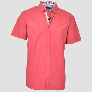 Spazio Clothing Red Alhan Polka Dot Button Up Shirt