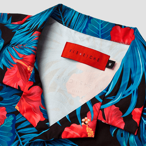 Vie Riche Tropical Floral Button Up Woven Shirt Close Up
