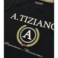 Phillips Short Sleeve Knit Logo Tee | A. Tiziano Close Up