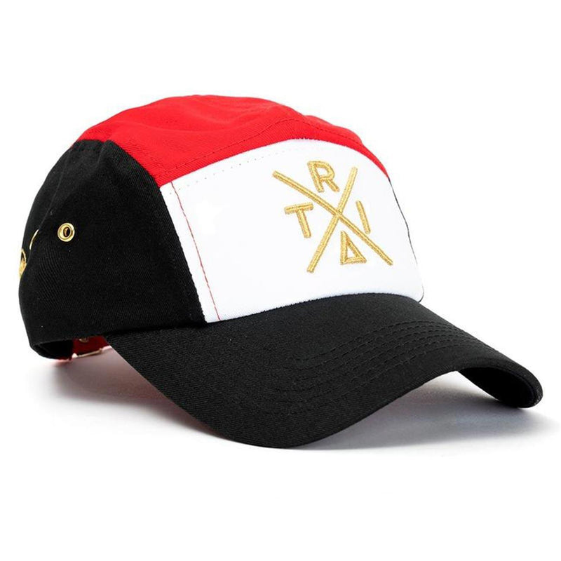Tri 5 Panel Hat (Black/Red) | Triangulo Swag